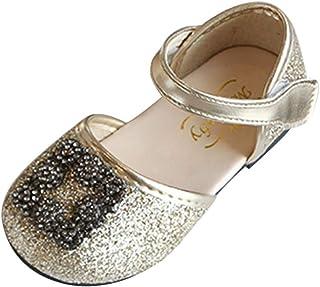 DolceTiger Filles Ballerines Perle Tisser Floral Dessin Mignon, Chaussures Princesse Fille D'été Enfant Cuir Sneaker Décon...