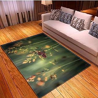 QNYH Alfombra Estilo De Dibujos Animados Decoración De Dormitorio para Niños 3D Mariposa Imprimir Alfombra Rectangular Absorbente De Agua 80cmx150cm