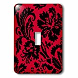 1-Gang Wall Plate Cover Decorator Switch Light Double Receptacle Outlet Red & Black Damask Large Print Stylish Floral Gothic Bold Elegant Burlesque Inspired Pattern Classic Unbreakable Beadboard