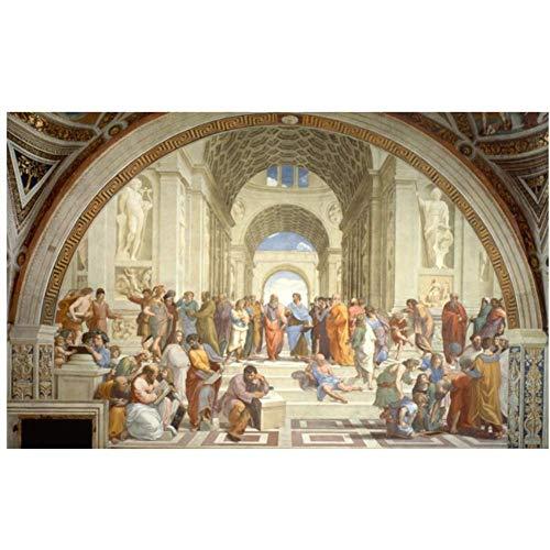 ad Famosa Scuola d'Arte di Pittura di Atene di Raffaello, Poster e Stampe su Tela Immagini per pareti per Soggiorno Decor -60x100cm Senza Cornice