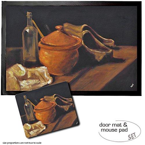 1art1 Vincent Van Gogh, Stillleben Mit Tontopf, Flasche Und Holzschuhen, 1885 Fußmatte Türmatte (60x40 cm) + Mauspad (23x19 cm) Geschenkset