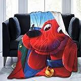 Lucky House1 Cli-Ffo-rd Powerful Th-e B-Ig Re-d D-Og Ultra Soft Throw Blanket Flannel Fleece All Season Light Weight Sofa Couch Creative Warm Blanket,Black,60'' X50