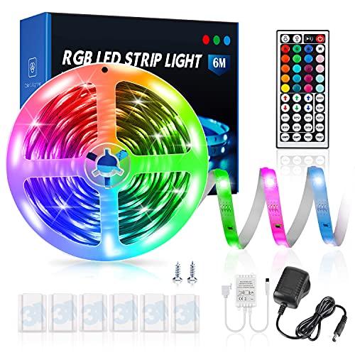 Luces Led Habitacion Tiras Led 6m RGB 5050 con 20 Colores y 8 Modelos Dinámicos y 6 Modos , Remoto de 44 Botones Luces Discoteca para Decoracion