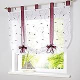 SIMPVALE - Cortina Visillo de Gasa Elevable con Cintas - Translúcido Persianas Romano Bordado para Cocina Balcón - Morado - 100cm x140cm