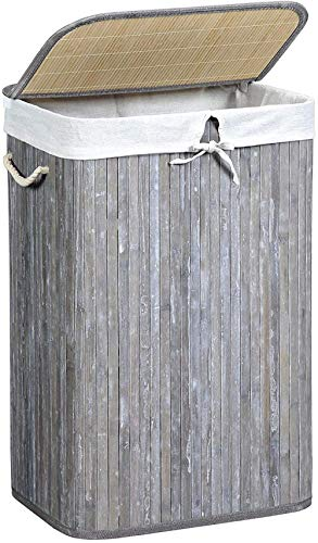 72L Laundry Hamper Bamboo Slat Laundry Basket Clothes Hamper with Clip Lid and Handles Foldable Removable Liner Bag Distressed Grey