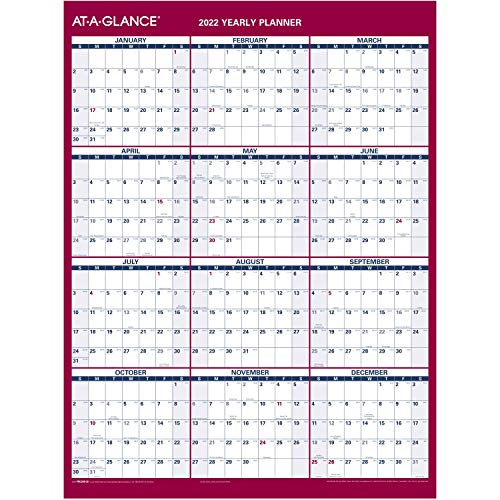 2022 Erasable Calendar, Dry Erase Wall Planner by AT-A-GLANCE, 12' x 16', Small, Vertical/Horizontal, Reversible, Compact (PM330B28)