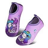 HMIYA Toddler Kids Water Shoes Swim Pool Shoes Non Slip Barefoot Quick Dry Aqua Socks for Boys Girls (Purple Mermaid, 26/27)