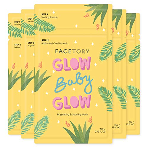 FaceTory Glow Baby Glow Niacinamide and Cica Brightening Sheet Mask - Brightening, Calming, and Moisturizing (Pack of 5)
