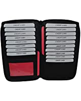Genuine Leather Zip Around Credit Card Organizer Wallet with Id Window By Leatherboss (Black)