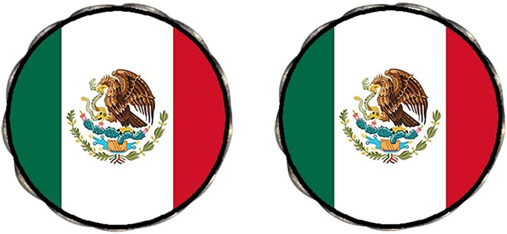 GiftJewelryShop Bronze Retro Style Mexico flag Photo Clip On Earrings Flower Earrings 12mm Diameter