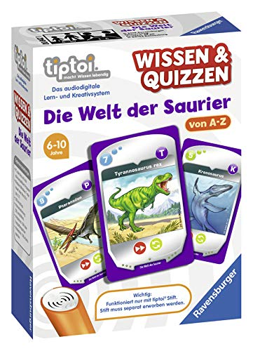 """Ravensburger tiptoi 00842 - Wissen & Quizzen """"Die Welt der Saurier"""" / Spiel von Ravensburger ab 6 Jahren / Wertvolles Wissen über Meeres-, Flug- und Dinosaurier sammeln"""