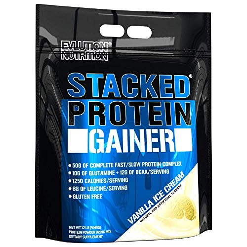 Evlution Nutrition Stacked Protein Gainer, Whey Protein Powder Complex, 50 Grams Protein, 250 Grams Carbohydrates, Build Muscle, Recovery, Post Workout, Gluten-Free (Vanilla Ice Cream, 12 LB)