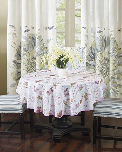 Frenessa Mantel Redondo Antimanchas Impermeable, Manteles Estampados para Comedor Cocina Casa Hotel Restaurante, Diámetro 140cm, Lavanda Rosado