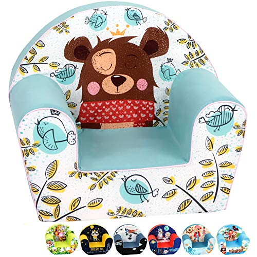 DELSIT Toddler Chair & Kids Armchair - European Made Premium Quality - Perfect Reading Chair for Kids - Lightweight Playroom Decor (Teddy)