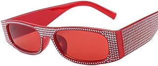 DovSnnx - DovSnnx Gafas De Sol Unisex para Hombres Y Mujers Polarizadas Protección 100% Uv400 Clásico Vintage Moda Sunglasses Imitación Diamante Rojo Marco Lente Roja