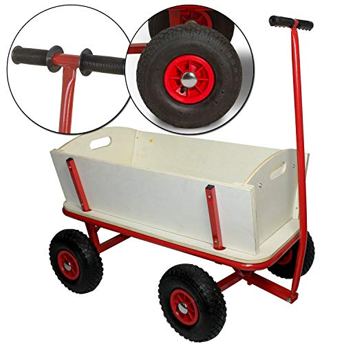 Bollerwagen Maxie Rot aus stabilem Holz und pulverbeschichtetem Stahl - Transportwagen mit Gummireifen - Handwagen belastbar bis zu 100 kg - perfekt für den Familienausflug