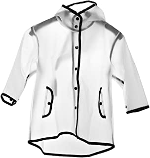 Baoblaze Transparent Raincoat Boys Girls Waterproof Hooded Rain Coats Rainwear Impermeable