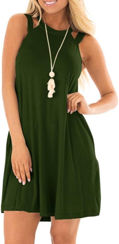 EZBELLE Women's Sleeveless Long Tunic Dress Casual Swing TShirt Dresses with Pockets