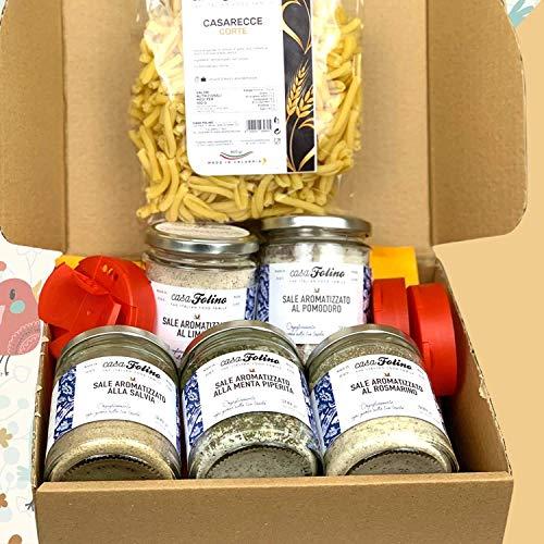 Caja Cata 'Sales Aromatizadas'. Una selección de 5 tarros de vidrio con tapón dosificador de sales aromatizadas, coloreadas y perfumadas. Gran idea para un regalo. Casafolino