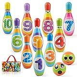 Ulikey Birilli Bambini, Set da Bowling con 10 Birilli e 2 Palle, Bowling Giochi e Giocattoli Educativi Giochi da Spiaggia Esterno Regalo per Bambino 3 4 5 Anni (10 Birilli)