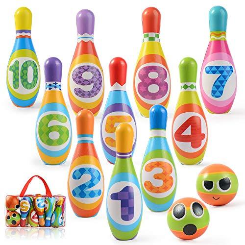 Ulikey Bowling Ball Set Kegelspiel für Kinder, Bowling mit 10 Kegel und 2 Bälle, Mini Spiele Pädagogische Spielzeug Roll Ball Geschenke für Kinder Drin und Draußen