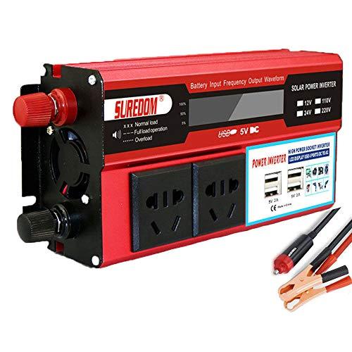 HPDOW 1000W 1500W 2000W Inversor de Corriente Onda Sinusoidal Pura,Transformadores de 12V/24V A 110V 230V, Inversor de Corriente Solar, con Tomacorrientes de CA Y Puertos USB,24vto220v-2000w