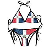 LINGMEI Flag of The Dominican Republic Sexy Boxing Bikini Women Halterneck Top and Set Swimsuits Beach Swimming, Black, One Size
