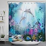 LB 180x180cm Duschvorhang Lustige Delfin Fisch Bunte Korallen im Blau Meer Polyester Wasserdicht Antischimmel Badezimmer Gardinen mit 12 Haken,Unterwasserwelt für Kinder