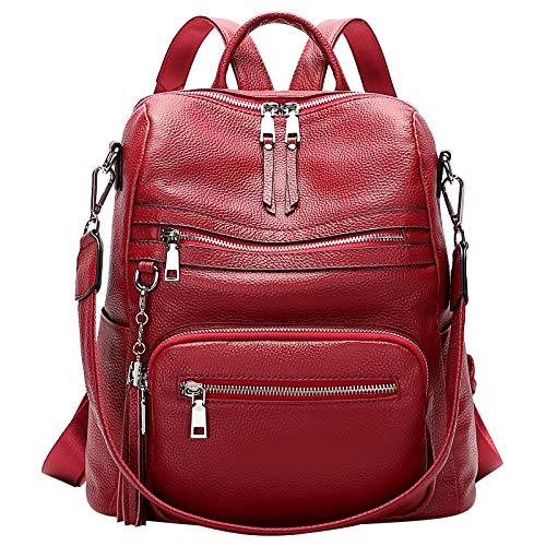 ALTOSY Mochila de piel auténtica para mujer, elegante, convertible, con borla, Color rojo tomate. (Rojo) - S106 Wine Red UK