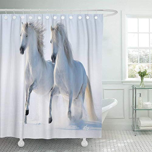 JOOCAR Cortina de ducha de diseño, azul poni dos caballos galopantes blancos como nieve gris semental árabe rebaño andaluz activo de invierno, tela impermeable para decoración de baño con ganc