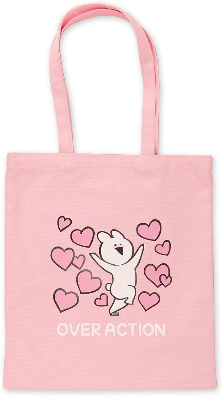 OVER ACTION RABBIT Heart Canvas Tote Shoulder Bag Reusable Pink Travel Bag