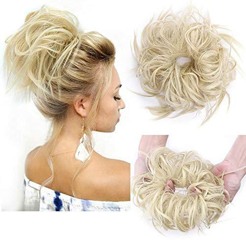 Moda Peinado Updo despeinado Scrunies de pelo con moño desordenado Extensión de cabello de cola de caballo para mujer Lejía rubia