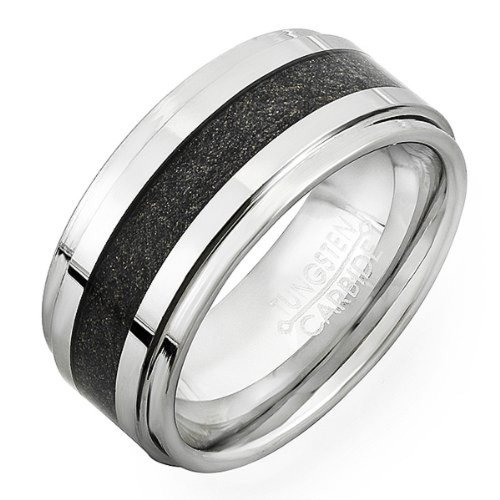Dazzlingrock Collection Tungsten Carbide Men's Ladies Unisex Ring Wedding Band 9MM (3/8 inch) Step Carbon Inlay Comfort Fit (Available in Sizes 8 to 12) Size 8