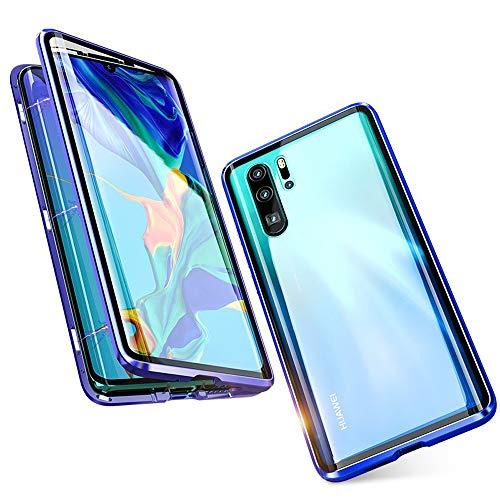 Jonwelsy Kompatibel für Huawei P30 Pro (6,47 Zoll) Hülle, 360 Grad Vorne und Hinten Gehärtetes Glas Transparente Case Cover, Stark Magnetische Adsorption Metallrahmen Handyhülle (Blau)