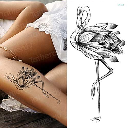 tzxdbh Autoadesivo provvisorio del Tatuaggio, 3pcs Rosa Schizzi Fiore di peonia Disegni del Tatuaggio Modello Ragazze del Piedino del Braccio Tatuaggi Adesivi Neri Celebs 3pcs 1