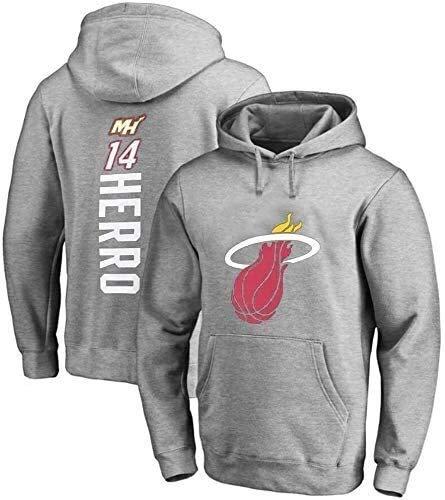 Sudaderas con Capucha de los Hombres del Baloncesto, Miami Heat # 14 Tyler Herro con Capucha, su Jersey con Capucha Camiseta Suelta Camiseta con Capucha clásica Jersey (Size : XXX-Large)