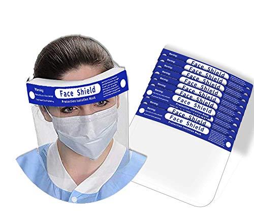 Yocktec Visera Protección facial de seguridad Tapa de protección Completa Proteja Los Ojos y a Cara, Ajustable Cinta De Película Protectora Elástica Seguridad Mascarilla (10 paquetes)