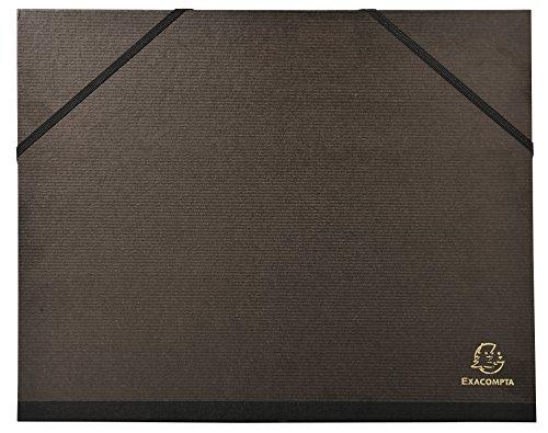 Exacompta 547100E Zeichenmappe (mit Gummizug format Din A4 überbreite, Kraft, 26 x 33 cm) schwarz