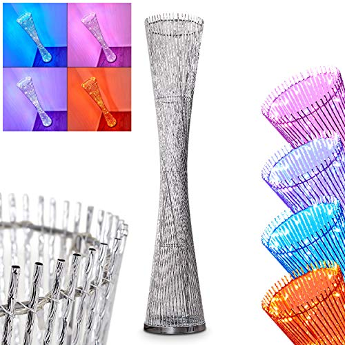 LED Stehleuchte Pedro, dimmbare Stehlampe aus Metall in Chrom, 7,2 Watt, 720 Lumen, Leuchte mit RGB-Farbwechsler und Glitzer-Effekt, Lichtfarbe über Schalter am Kabel einstellbar
