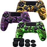MXRC Silicone Rubber Cover Skin case Anti-Slip Water Transfer Customize Camouflage for PS4/SLIM/PRO Controller x 3(Orange & Green & Purple) + FPS PRO Extra Height Thumb Grips x 8
