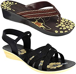Shoefly Women Multicolour Latest Collection Stylish Sandal & Slippers-Pack of 2 (Combo-(2)-5016-983)