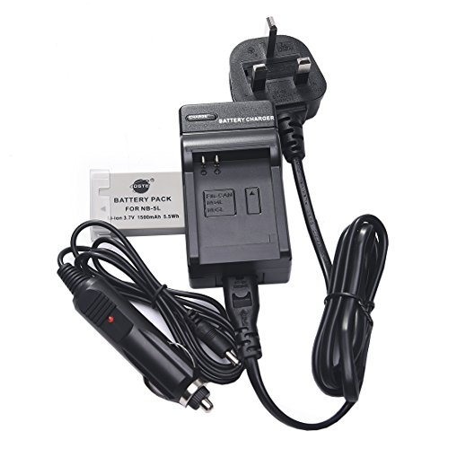 DSTE NB-5L batteria ricaricabile Li-ion + DC22U viaggio e caricabatterie da auto con adattatore per Canon tiro di potenza S100 S110 SD700 IS SD790 SD800 SD850 SD870 SD880 SD890 SD900 SD950 SD970 SD990 SX200 SX210 SX220 SX230 HS, IXUS 800 850 860 870 900 90 950 960 970 980 990 IS, IXY 800 810 820 830 900 910 920 95 è la macchina fotografica digitale