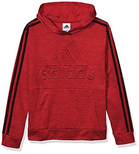 adidas Boys' Pullover Logo Sweatshirt (4, Embossed Red)