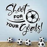 Adhesivo de pared para niños, diseño de balón de fútbol con texto en inglés 'Shoot for Your Goals'