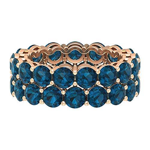Anillo de boda de doble fila, anillo de topacio azul de 9 quilates, anillo de piedra natal de diciembre, anillo de banda ancha, anillo de aniversario, regalo de dama de honor, 14K Oro rosa, Size:EU 46