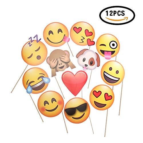 CHSYOO 12x Paper Party Supplies Adornos de Foto de Emoji Foto Panel Photo Booth Props, Favores de Fiesta para la Boda Fiesta de gallina Cumpleaños Baby Shower Kids Party Navidad Año Nuevo