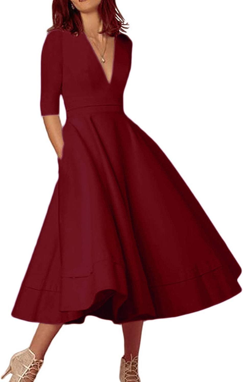 OMZIN Womens Half Sleeve Cocktail Vintage Dress Deep V Neck High Waist Dress with Pockets S-3XL