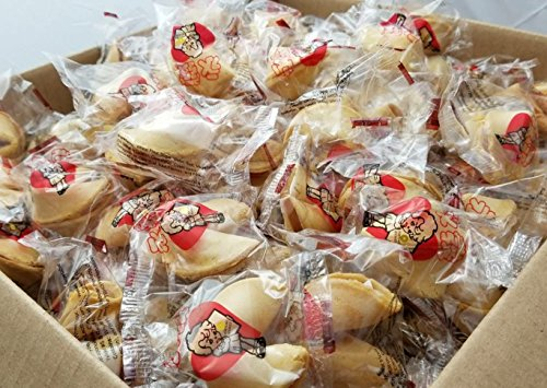 WIN FAR Chinese/Japanese 400 pcs Bonus Pack Fortune Cookies Candy Fresh Single Wrap, vanilla, 1 Count