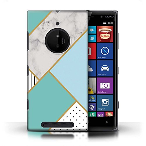 Stuff4 Phone Case/Cover/Skin/noklum CC/Marble Pattern geometrici Collection Geometrischer Minzgrün Nokia Lumia 830