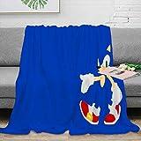 Coobal Sonic The Hedgehog Manta de forro polar tamaño manta Sonic the Hedgehog reversible súper suave para adultos y niños
